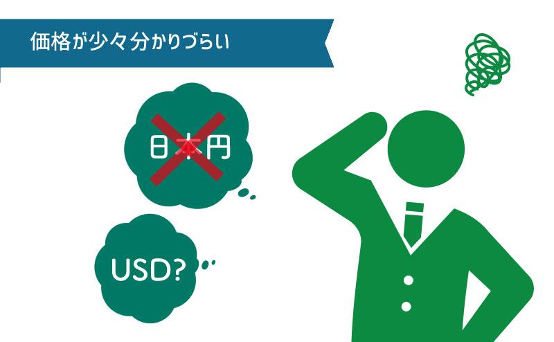 日本円表示ではなくドル表示